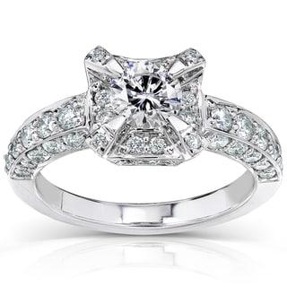 Annello by Kobelli 14k White Gold 1 3/8ct TDW Antique Diamond Engagement Ring (H-I, I1-I2