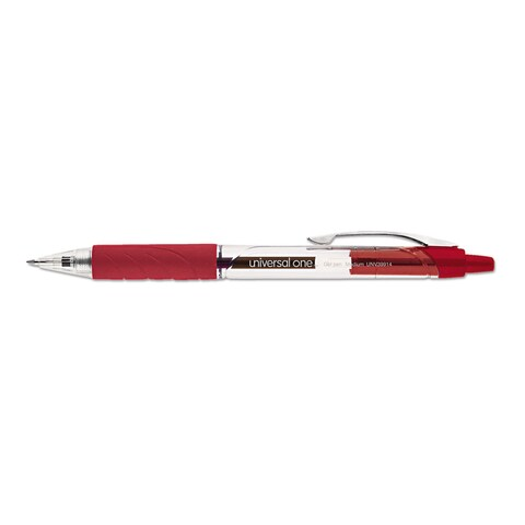 Universal One Clear Barrel Red Ink Roller Ball Retractable Gel Pen (4 Packs of 12)