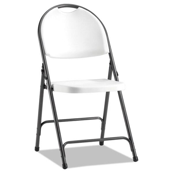 Alera Molded Resin White/Dark Gray Folding Chair 4/Carton