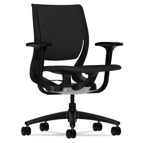 HON Purpose Black Black Upholstered Flexing Task Chair 17210934