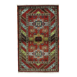 Herat Oriental Indo Hand-knotted Tribal Kazak Red/ Tan Wool Rug (3'2 x 5'2)