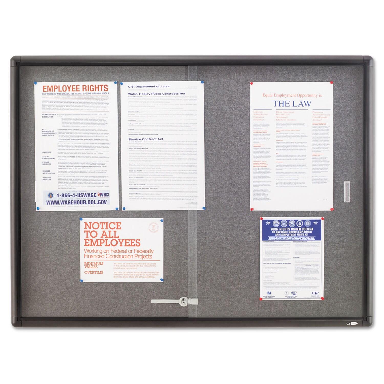 Quartet 48 x 36 Enclosed Grey and Aluminum Bulletin Board...