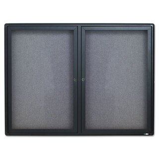 Enclosed Gray and Aluminum Bulletin Board