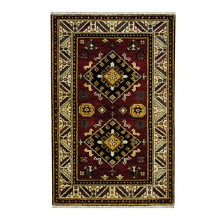 Herat Oriental Indo Hand-knotted Tribal Kazak Red/ Ivory Wool Rug (3'2 x 4'11)