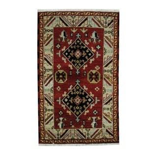Herat Oriental Indo Hand-knotted Tribal Kazak Red/ Beige Wool Rug (3'1 x 4'11)