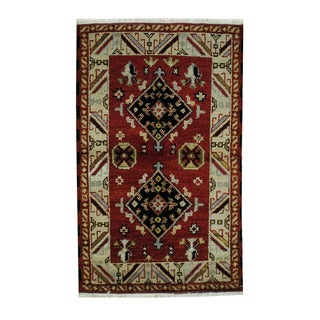 Herat Oriental Indo Hand-knotted Tribal Kazak Wool Rug (3'1 x 4'11)