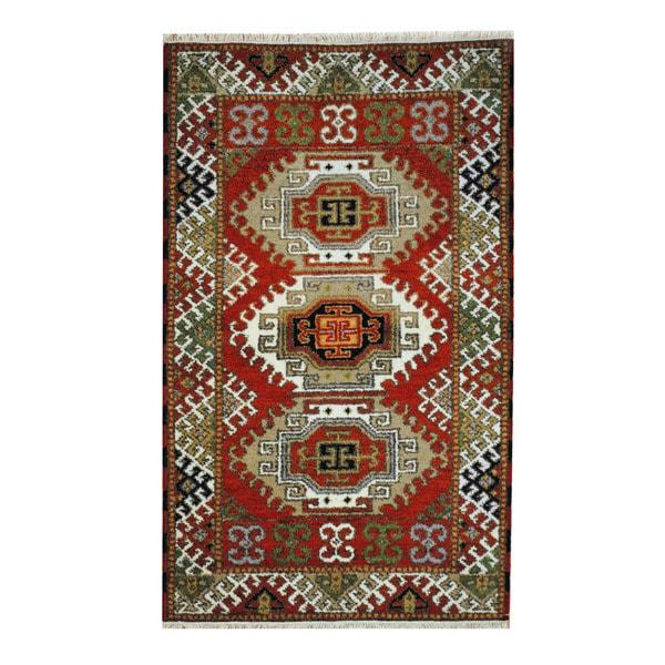 Handmade Herat Oriental Indo Tribal Kazak Wool Rug (India) - 3'2 x 5'2