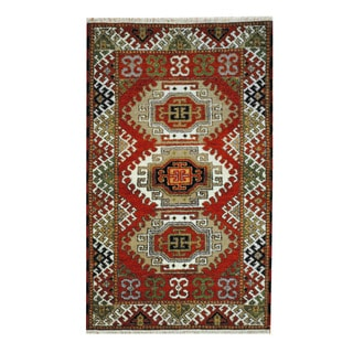 Herat Oriental Indo Hand-knotted Tribal Kazak Red/ Ivory Wool Rug (3'2 x 5'2)