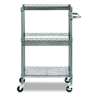 Alera Black Anthracite Three-Tier Wire Rolling Cart