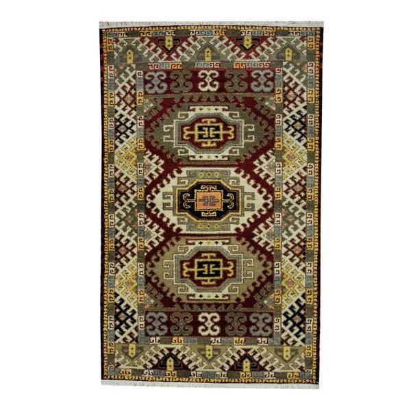 Handmade One-of-a-Kind Kazak Wool Rug (India) - 3'1 x 5'