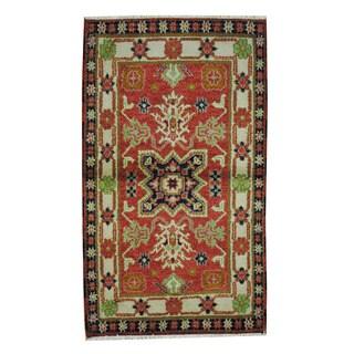 Herat Oriental Indo Hand-knotted Tribal Kazak Red/ Ivory Wool Rug (3'2 x 5'5)