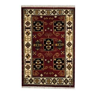 Handmade One-of-a-Kind Kazak Wool Rug (India) - 3'2 x 4'9