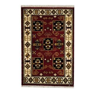Herat Oriental Indo Hand-knotted Tribal Kazak Wool Rug (3'2 x 4'9)