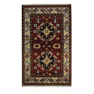 Herat Oriental Indo Hand-knotted Tribal Kazak Red/ Tan Wool Rug (3'2 x 5'1)