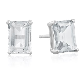 Sterling Silver Emerald-cut Aquamarine Earrings