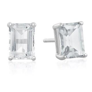 2 1/2 TGW Emerald Cut Aquamarine Earrings In Sterling Silver