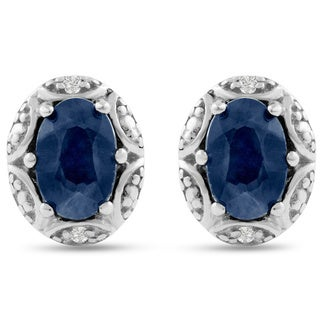 Sterling Silver Sapphire and Halo Diamond Accent Stud Earrings