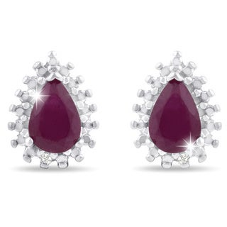 Sterling Silver Pear Shape Ruby and Diamond Accent Halo Stud Earrings