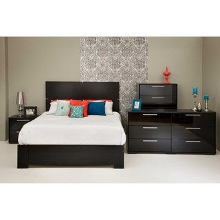 Mikka Black Oak Queen Platform Bed