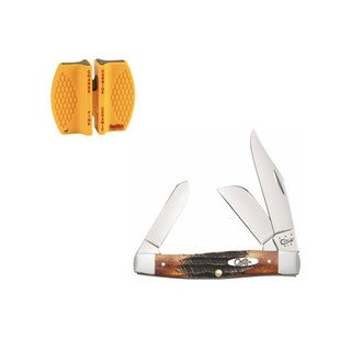 Case Cutlery 6.5 Burnt Bonestag Large Stockman Knife with Sharpener