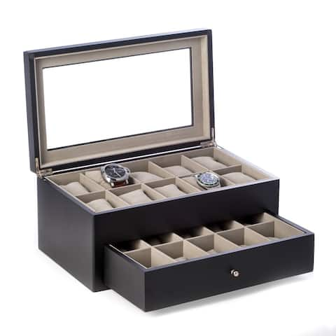 Bey Berk 'Vincent' Solid Cherry Finish Wood 20 Watch Box with Glass Top and Drawer