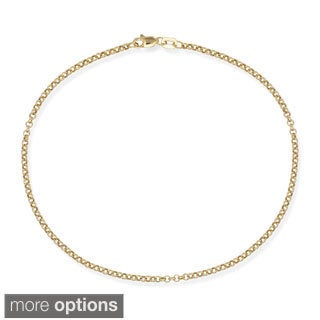 10k White or Yellow Gold 10-inch 2.5mm Rolo Chain Ankle Bracelet