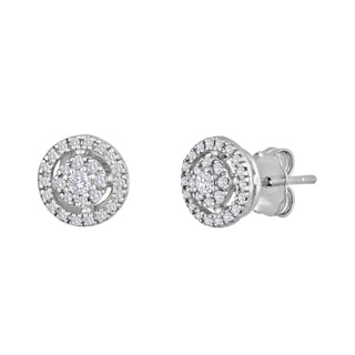 Sterling Silver 1/4ct TDW Diamond Round Stud Earrings (I-J, I2-I3)