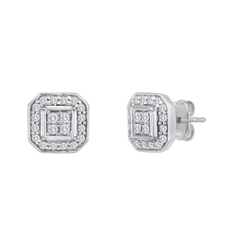 Sterling Silver 2/5ct TDW Diamond Quad Stud Earrings (I-J, I2-I3)