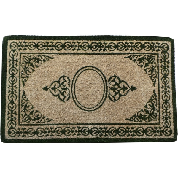First Impression Handmade Decorative Border Green Filigree Extra Thick Doormat (1'10 x 3')