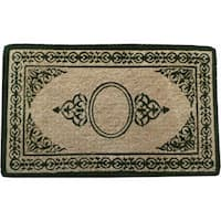 First Impression Handmade Decorative Border Green Filigree Extra Thick Doormat (1'10 x 3')