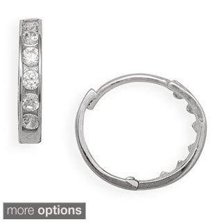 14k Gold Cubic Zircona Small Round Hinged Hoop Earrings