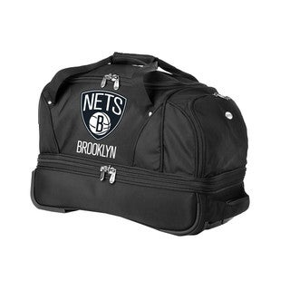 Denco Sports Luggage NBA Brooklyn Nets 22-inch Carry On Drop Bottom Rolling Duffel