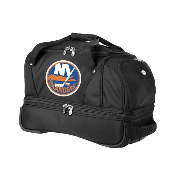 Denco Sports Luggage NHL New York Islanders 22-inch Carry On Drop Bottom Rolling Duffel