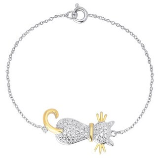 Finesque Gold or Silver Overlay Diamond Accent Sideways Cat Bracelet (I-J, I2-I3)