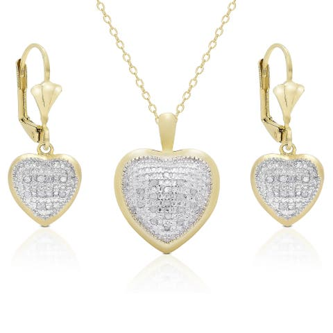 Finesque Gold Overlay 3/8ct TDW Diamond Heart Earrings and Necklace Set