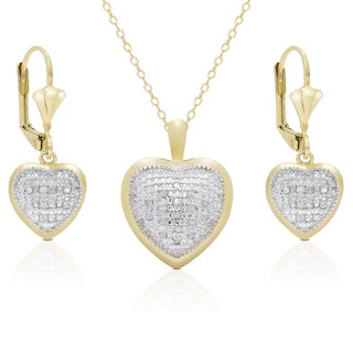 Finesque Gold Overlay 3/8ct TDW Diamond Heart Earrings and Necklace Set (I-J, I2-I3)