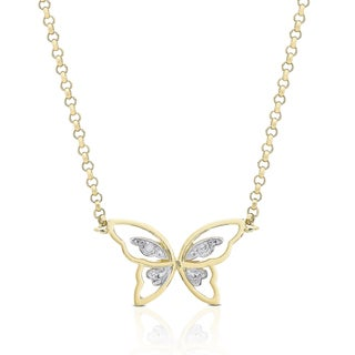 Finesque Gold Overlay Diamond Accent Butterfly Necklace