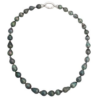Sterling Silver Tahitian Pearl Oval Clasp Strand Necklace (8-10 mm)