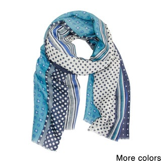 Handmade Saachi Women's Mixed Dots Striped Scarf (India)