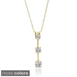 SummerRose 14k Gold 1/2 ct TDW Graduated Diamond Line Pendant