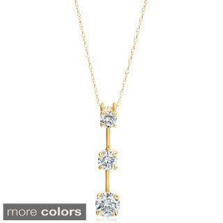 SummerRose 14k Gold 3 4 Ct TDW Graduated Diamond Line Pendant