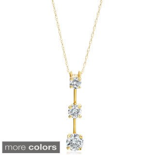 SummerRose 14k Gold 3/4 ct TDW Graduated Diamond Line Pendant (H-I, SI2-I1)