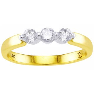 Beverly Hills Charm 14K Two-tone Gold 1/3ct TDW Diamond 3-stone Ring|https://ak1.ostkcdn.com/images/products/10066819/P17211338.jpg?impolicy=medium