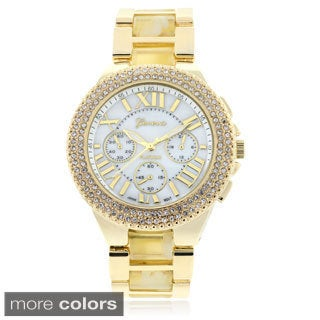 Geneva Platinum Rhinestone Two Tone Link Band Watch