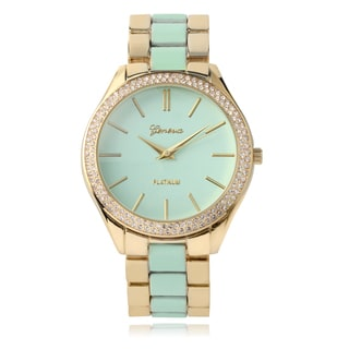 Geneva Platinum Rhinestone Accent Two-tone Link Watch