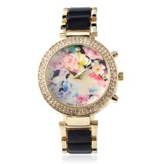 Geneva Platinum Rhinestone Floral Print Link Band Watch