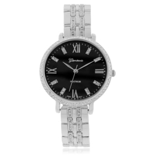 Geneva Platinum Rhinestone Bezel Round Case Link Band Watch