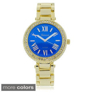 Geneva Platinum Rhinestone Bezel Round Face Link Band Watch