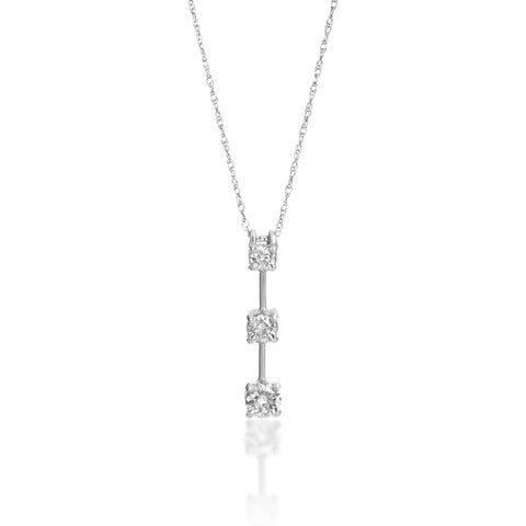 SummerRose 14k Gold 1 ct TDW Graduated Diamond Line Pendant