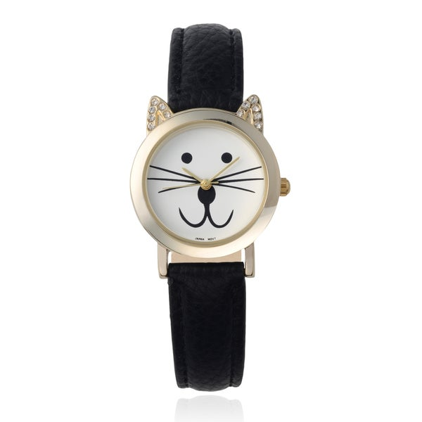 Geneva Platinum Women's Rhinestone Accent Cat Face Watch